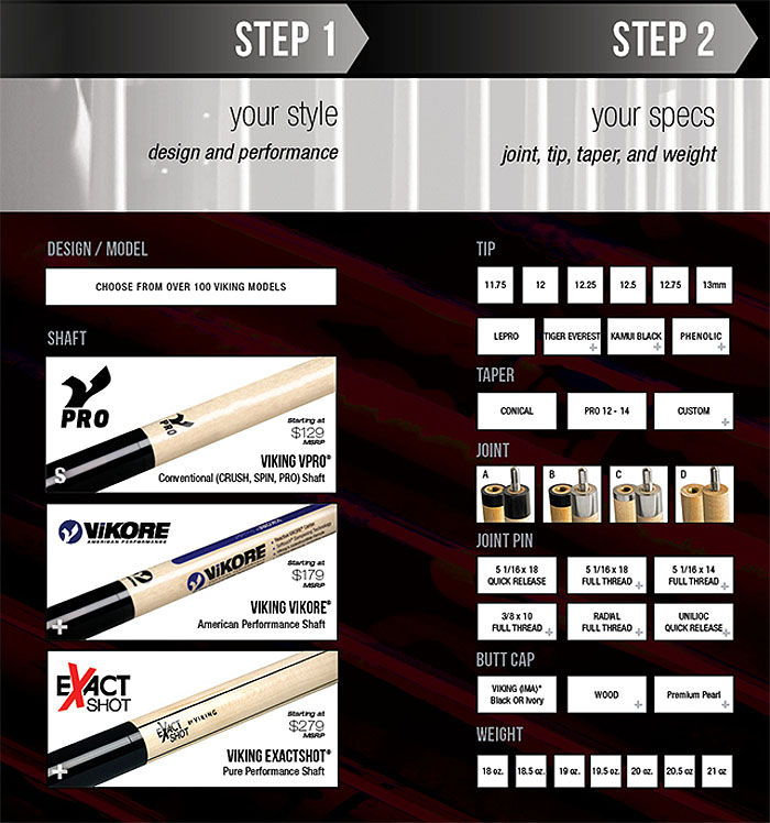Viking Cue Options Steps 1 and 2